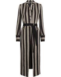 Ann Demeulemeester   Striped Linen-blend Coat   Lyst