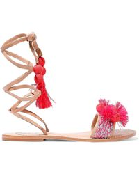 Schutz - Lace-up Embellished Leather Sandals - Lyst