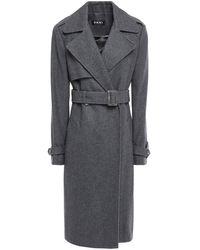 DKNY Wool-blend Felt Trench Coat Charcoal - Gray