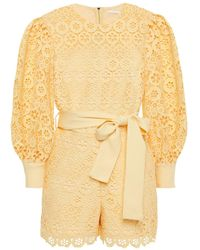 Maje Ingrid Guipure Lace Playsuit Pastel Yellow