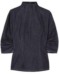 Emilia Wickstead Cutout Denim Blouse Dark Denim - Blue