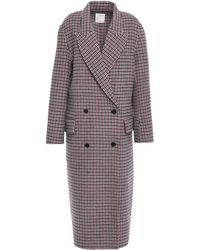 Sandro Double-breasted Checked Wool And Cotton-blend Felt Coat Multicolour
