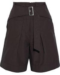 3.1 Phillip Lim Belted Cotton-blend Poplin Shorts - Brown