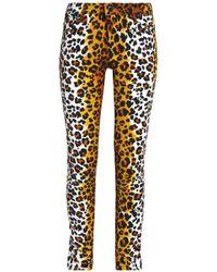 Love Moschino - Leopard-print Cotton-blend Velvet Slim-leg Trousers Animal Print - Lyst