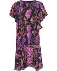 House of Holland Ruffled Snake-print Gauze Mini Dress - Purple