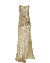 Dundas Ruched Sequined Stretch-jersey Gown Gold - Metallic