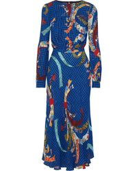 Stella Jean Gathered Printed Crepe Midi Dress Royal Blue