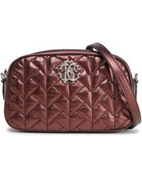 Roberto Cavalli - Woman Quilted Metallic Leather Shoulder Bag Bronze - Lyst