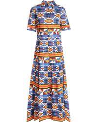 Stella Jean - Geometric Print Plisse Cotton Dress - Lyst