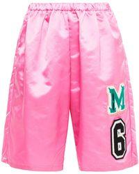 MM6 by Maison Martin Margiela Appliquéd Satin Shorts - Pink