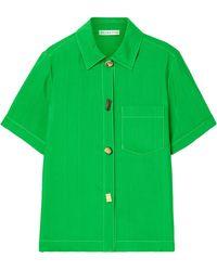 Rejina Pyo Nico Satin-jacquard Shirt - Green