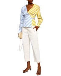 Anna October Striped Cotton-poplin Wrap Top - White