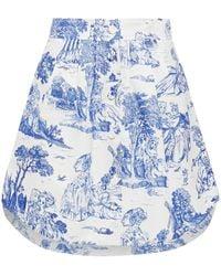 Moschino Pleated Printed Cotton-blend Faille Mini Skirt - White