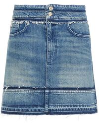 7 For All Mankind 7 For All Kind A Line Frayed Denim Mini Skirt - Blue