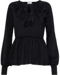 RED Valentino - Lace-paneled Wool Peplum Sweater Black - Lyst