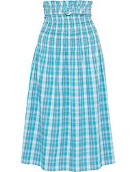 Nicholas Belted Shirred Checked Crinkled-cotton Midi Skirt - Blue