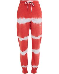 MSGM Tie-dyed French Cotton-terry Track Trousers - Grey
