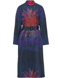 Paul Smith Printed Cotton-blend Shell Trench Coat - Blue