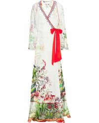 Camilla Chiffon-paneled Crystal-embellished Floral-print Silk Crepe De Chine Maxi Wrap Dress Off-white