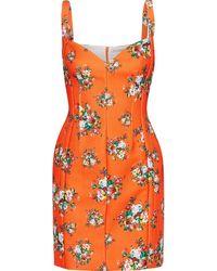 Emilia Wickstead Fyfe Floral-print Cloqué Mini Dress Bright Orange