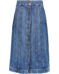 FRAME Denim Midi Skirt - Blue