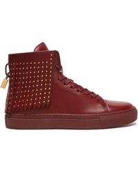 Buscemi - Studded Fringed Leather High-top Trainers - Lyst
