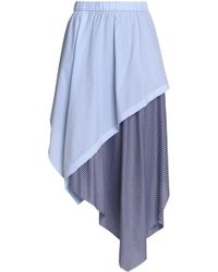 Opening Ceremony - Asymmetric Striped Cotton-blend Midi Skirt Light Blue - Lyst