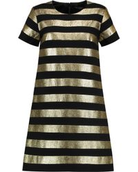 Marc By Marc Jacobs   Striped Lamé And Crepe Mini Dress   Lyst