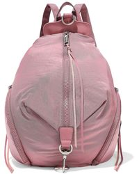 Rebecca Minkoff Julian Mini Convertible Leather-trimmed Shell Backpack Bubblegum - Pink
