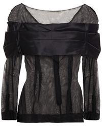 Simone Rocha Pleated Silk Satin-paneled Tulle Top - Black