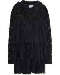 MM6 by Maison Martin Margiela Tiered Cotton-blend Lace Hoodie - Black