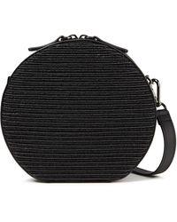Brunello Cucinelli Leather And Faux Raffia Shoulder Bag - Black