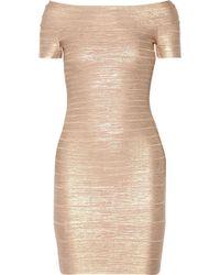 eca55bd5f346 Hervé Léger - Hervé Léger Woman Carmen Off-the-shoulder Metallic Bandage  Mini Dress