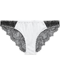 Stella McCartney Gigi Giggling Silk-blend Satin And Lace Low-rise Briefs Off-white