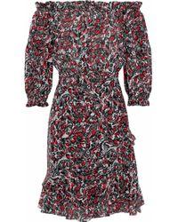 Saloni - Grace Off-the-shoulder Printed Silk Crepe De Chine Dress - Lyst