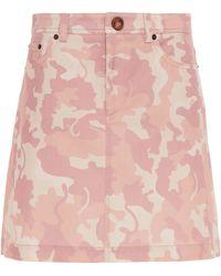 Vivetta Camouflage-print Cotton-blend Mini Skirt - Pink
