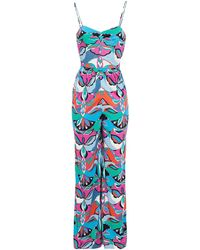 Emilio Pucci Printed Jersey Wide-leg Jumpsuit Turquoise - Blue