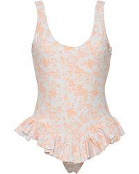 Caroline Constas Open-back Ruffled Floral-print Swimsuit - White