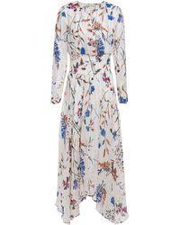 Maje Shirred Metallic Floral-print Fil Coupé Midi Dress White