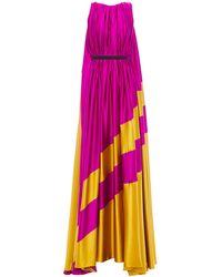 ROKSANDA Draped Two-tone Silk-satin Gown Violet - Purple