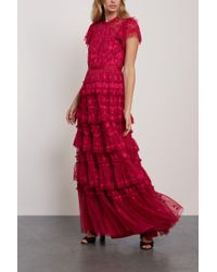 Needle & Thread Darcy Tiered Embroidered Tulle Gown Crimson