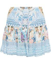 Camilla Girl Next Door Embellished Printed Voile Mini Skirt Light Blue