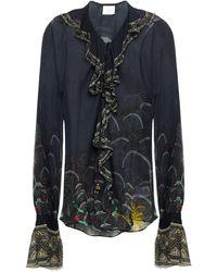 Camilla Metallic-trimmed Ruffled Embellished Printed Silk-crepon Blouse - Black