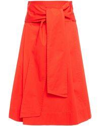 Tory Burch Cotton-poplin Wrap Skirt Tomato Red