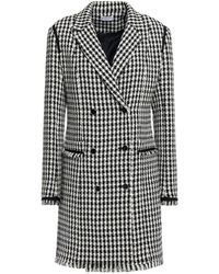 Claudie Pierlot Double-breasted Houndstooth Cotton-blend Tweed Mini Dress - Black