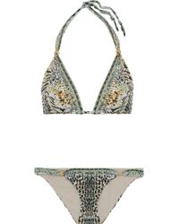 Camilla - Crystal-embellished Printed Triangle Bikini - Lyst