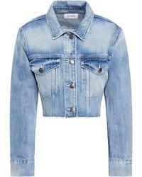FRAME Cropped Distressed Faded Denim Jacket Mid Denim - Blue