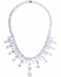 CZ by Kenneth Jay Lane Silver-tone Crystal Necklace Silver - Metallic