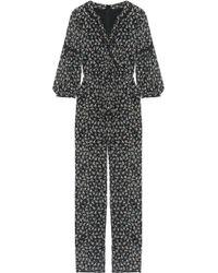 Anna Sui - Lace-trimmed Floral-print Silk-chiffon Jumpsuit - Lyst