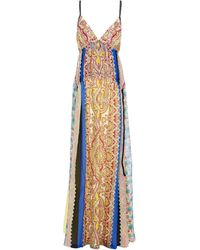 Etro Panelled Printed Silk-georgette Maxi Dress Pastel Yellow - Multicolour